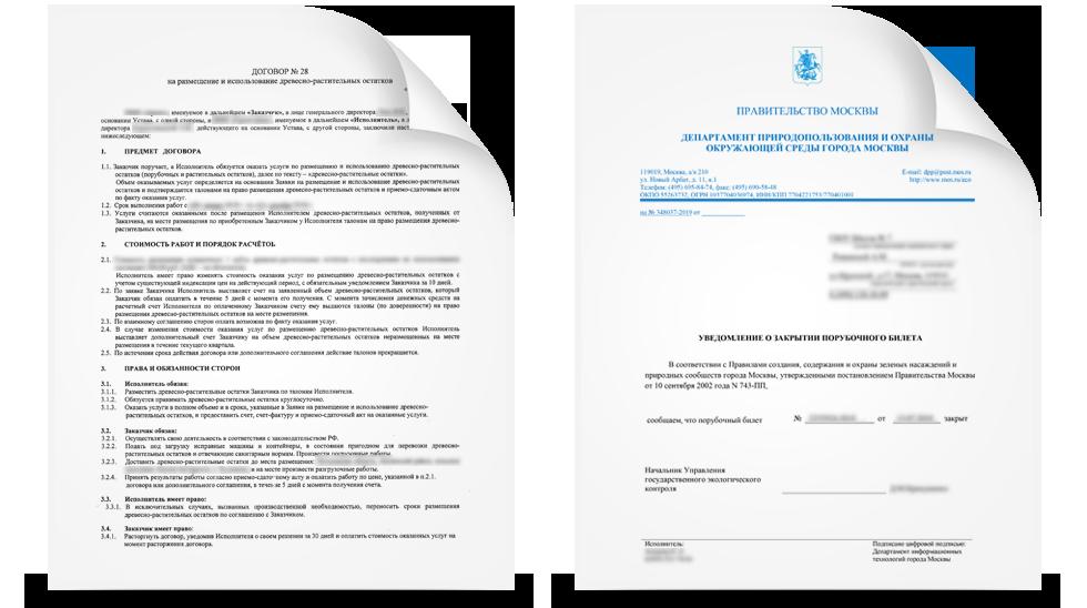 Договор об утилизации порубочных остатков необходим для закрытия порубочного билета